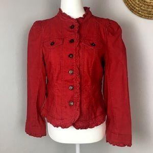 Victorian style ruffled edge corduroy jacket